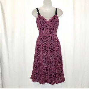 Betsey Johnson lace crochet silk trumpet dress